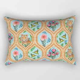Tiger , protea, hibiscus, palm ogee pattern in watercolor Rectangular Pillow