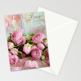 Shabby Chic Cottage Pink Floral Ranunculus Peonies Roses Print Home Decor Stationery Cards