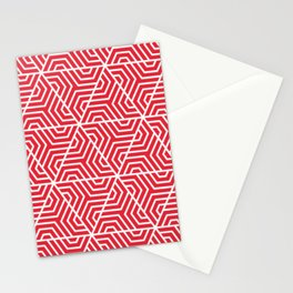 Rose madder - red - Geometric Seamless Triangles Pattern Stationery Cards