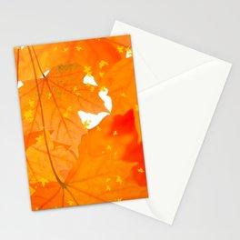 Fall Orange Maple Leaves On A White Background #decor #society6 #buyart Stationery Cards