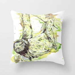 """The Couch Potato"" sloth watercolor design. Throw Pillow"