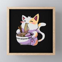 Anime Cat Japanese Ramen Noodles Framed Mini Art Print