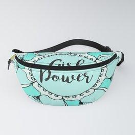 Girl Power Turquoise Aqua Mandala Fanny Pack