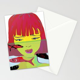 """Redhead Worry"" Paulette Lust's Original, Contemporary, Whimsical, Colorful Art Stationery Cards"