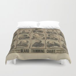 Beard Trimming Chart from 1884 Duvet Cover
