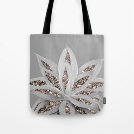 Gray Agave with Rose Gold Glitter #1 #shiny #tropical #decor #art #society6 Tote Bag