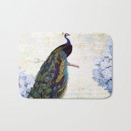 Blue peacock and hydrangea Bath Mat