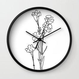 Minimalistic Flowers Wall Clock