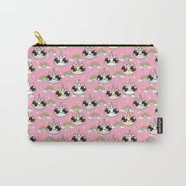 cats unicorns and a rainbow. unicorn cats on a pink background. Carry-All Pouch