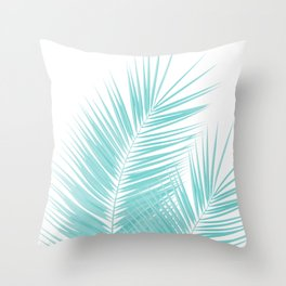 Soft Turquoise Palm Leaves Dream - Cali Summer Vibes #1 #tropical #decor #art #society6 Throw Pillow