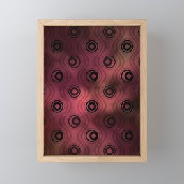 Bold Circle Rings and Wavy Lines on Abstract Blurred Red Patch Background Framed Mini Art Print
