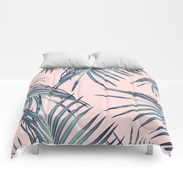 Blush Palm Leaves Dream #1 #tropical #decor #art #society6 Comforters