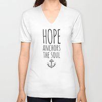 pocketfuel V-neck T-shirts featuring HOPE ANCHORS THE SOUL  by Pocket Fuel