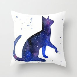 Galaxy Cat Watercolor Throw Pillow