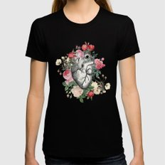 Roses for her Heart Black Womens Fitted Tee LARGE