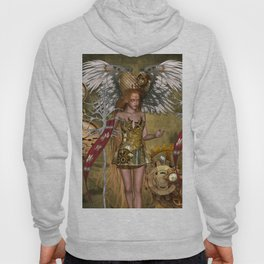 Wonderful steampunk lady with heart, wings, clocks and gears Hoody