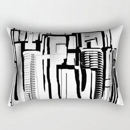 Black and White City Rectangular Pillow
