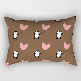 Penguin in love Brown Rectangular Pillow