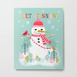 Holiday Snowman by Andrea Lauren  Metal Print