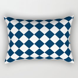 Diamonds - White and Oxford Blue Rectangular Pillow