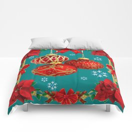 TEAL COLOR RED CHRISTMAS  ORNAMENTS &  POINSETTIAS FLOWER Comforters