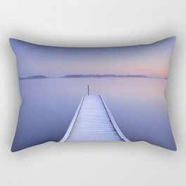 Jetty on a still lake in winter in The Netherlands Rectangular Pillow