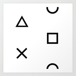Playstation Controller Pattern (Black on White) Art Print