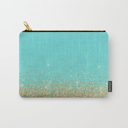 Sparkling gold glitter confetti on aqua teal damask background Carry-All Pouch
