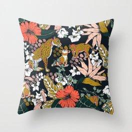Animal print dark jungle Throw Pillow