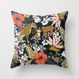Animal print dark jungle Throw Pillow
