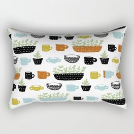 Potted Plants and Coffee Mugs Rectangular Pillow