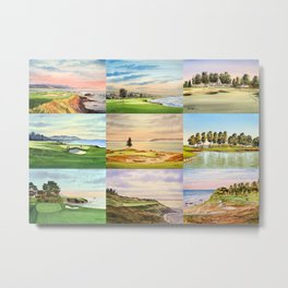 Famous Golf Courses In The USA Collage Metal Print