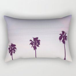 Los Angeles Sunset + Palm Tree Silhouettes Rectangular Pillow