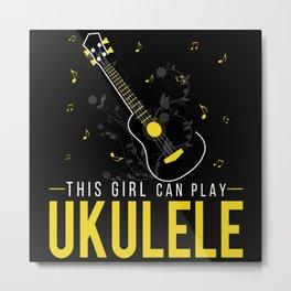 This Girl Can Play Ukulele Yellow Metal Print