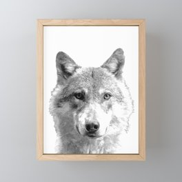 Black and White Wolf Framed Mini Art Print