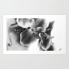 Look Behind the Orchids Art Print