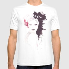 Fashion illustration in watercolors MEDIUM Mens Fitted Tee White