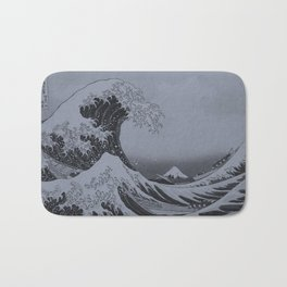 Silver Japanese Great Wave off Kanagawa by Hokusai Bath Mat
