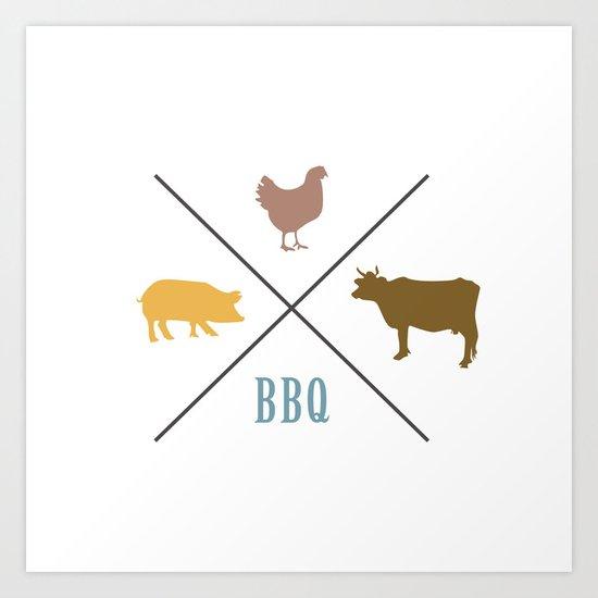 BBQ Hipster Logo Art Print