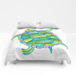 Tropical sea turtle - turquoise aqua blue Comforters