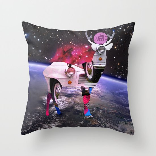 DeerSpaceInvasion 3 Throw Pillow