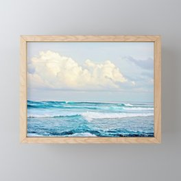 Blue Water Fluffy Clouds Framed Mini Art Print