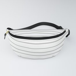 Inspired by Benjamin Moore Metropolitan Gray AF-690 Hand Drawn Horizontal Lines on White Fanny Pack