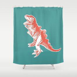Dino Pop Art - T-Rex - Teal & Dark Orange Shower Curtain
