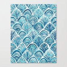 NAVY LIKE A MERMAID Fish Scales Watercolor Canvas Print