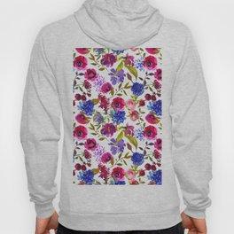 Magenta pink navy blue lilac watercolor floral Hoody