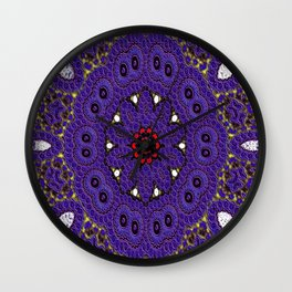 Lovely Healing Mandalas in Brilliant Colors: Purple, Brown, Yellow, Red and White Wall Clock