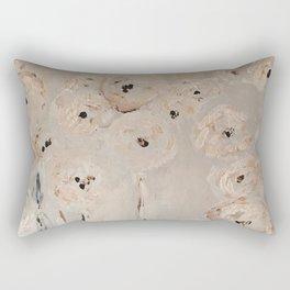 Pretty Flower print abstract white grey poppies Rectangular Pillow