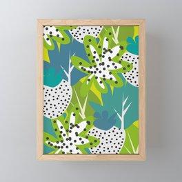 White strawberries and green leaves Framed Mini Art Print