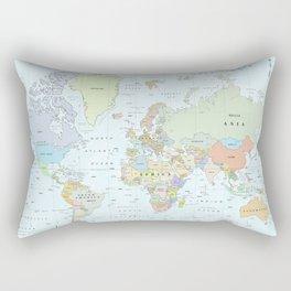 World Atlas & Bathymetry Map [color version] Rectangular Pillow